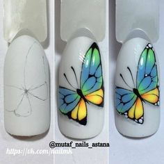 Nails Art Flores Tutorials For 2019 Butterfly Nail Designs, Butterfly Nail Art, Simple Nail Art Designs, Gel Nail Designs, Cute Nail Designs, Easy Nail Art, Diy Nails, Cute Nails, Pretty Nails