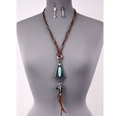 COMING  ✨HIPPIE CHIC TURQUOISE LEATHER NECKLACE✨ HIPPIE CHIC TURQUOISE CENTER STONE ✨LEATHER NECKLACE✨ DROP EARRINGS  - Length: 26 inch - Weight: 1.8 oz Jewelry Necklaces