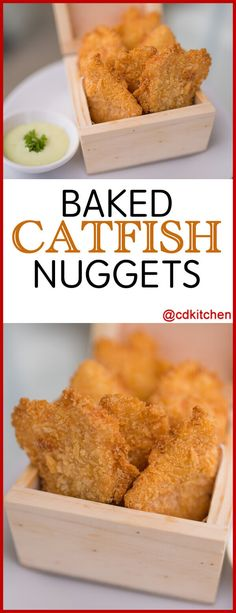 These yummy catfish nuggets are baked instead of fried, making them a healthier choice. Serve the nuggets with your favorite dipping sauce like tartar sauce or ketchup. Catfish Nuggets Recipes, Fried Catfish Nuggets, Baked Catfish Recipes, Seafood Bake, Seafood Recipes, Seafood Shop, Seafood Dishes, Ketchup, Grilled Catfish