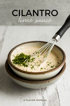 A quick and easy cilantro sauce recipe (with sour cream, fresh lime, and spices) that is perfect for tacos, nachos, or your favorite Tex-Mex foods!  #cilantrosauce #cilantro #texmexsauce #creamsauce #tacosauce #creamycilantro #burritosauce via @aflavorjournal Easy Cooking, Cooking Recipes, Healthy Recipes, Cat Recipes, Mexican Recipes, Delicious Recipes, Healthy Foods, Cilantro Lime Sauce, Spicy Salmon