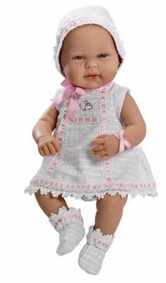 Real Baby Con Conjunto Blanco Y Rosa - Tienda De Muñecas De Muñecas Arias - Diversal