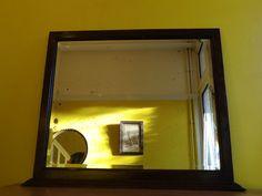 Stunning Original Antique Vintage Mantel Deep Bevel Mirror Solid Oak Frame