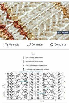 Crochet Stitches Chart, Crochet Diagram, Knitting Stitches, Knitting Patterns, Crochet Patterns, Crochet Cable, Crochet Lace Edging, Crochet Motifs, Thread Crochet