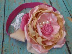Pink and Yellow Brown Headband Baby Headband by AldonasBoutique,