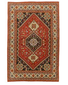 EORC X32720 Hand Knotted Wool Abadeh Rug, 4'1 x 6'5, Red