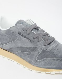 Reebok   Reebok Classic Gray Suede Sneaker With Gold Sole at ASOS