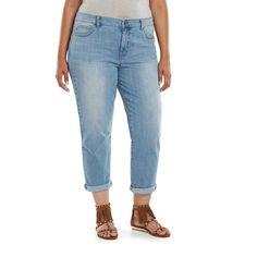 Plus Size Jennifer Lopez Boyfriend Jeans, Women's, Size: 18W T/L, Light Blue