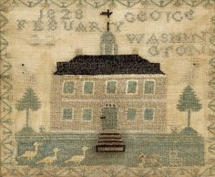 George Washington memorial needlework, silk on linen, American ca 1828