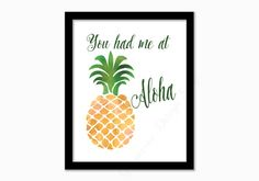 Pineapple print. Aloha print. Watercolor. by GrapevineDesignShop