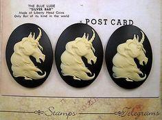 40x30mm Unicorn Cameos (3) - L545-3 Jewelry Finding