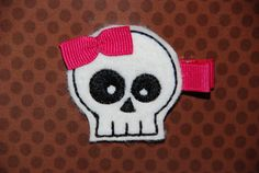 Felt Embroidered White Skull with Fuchsia Bow by lilibirdbowtique, $4.00