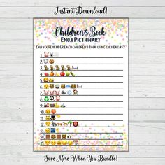 Childrens Book Emoji Pictionary + Answer Key + FREE SURPRISE BONUS GAME Instructions: Try to guess each popular childrens book using only emojis. The person with the most correct wins! ***What is Included*** This listing is for an INSTANT DOWNLOAD of a 5x7 PDF and an 8.5 x 11 with