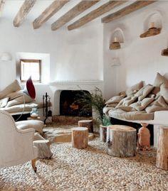 wohnzimmer boden flusssteine als dekoration im interieur