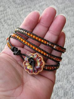 my wrap braclets with glass beads - trying to make in every color!