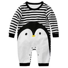 OCEAN-STORE Infant Baby Boys Girls 3-18 Months Sleeveless Cartoon Penguin Print Jumpsuit Romper Clothes