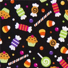 black Riley Blake Halloween fabric colourful candy  cute fabric with many small colourful sweets from the USA