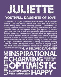 Items similar to JULIETTE Personalized Name Print / Typography Print / Detailed Name Definitions / Numerology-calculated Destiny Traits / Educational on Etsy Baby Names And Meanings, Names With Meaning, Nora Name, Micro Preemie, Classic Names, Numerology Numbers, Female Names, Name List, Typography Prints