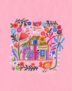 House on pink is a print made from an original Gouache painting. Art And Illustration, Illustrations, Pinturas Art Deco, Posca Marker, Guache, Gouache Painting, Grafik Design, Creative Inspiration, Oeuvre D'art