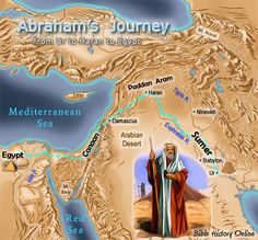 Map of the Abraham's Journey from Ur to Haran to Egypt. Abraham was the very personification of faith and obedience.