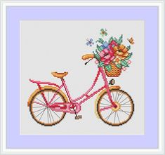 Four seasons bicycles Cross Stitch Pattern Modern cross stitch Bike Spring Embroidery Flower cross stich baby room wall decor Simple Cross Stitch, Beaded Cross Stitch, Cross Stitch Embroidery, Embroidery Patterns, Modern Cross Stitch Patterns, Counted Cross Stitch Patterns, Baby Room Wall Decor, Cross Stitching, Bicycle