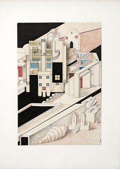 1977 A_PENSATOIO 2_cartone cm. 50 x 34_by Brunetto De Batté
