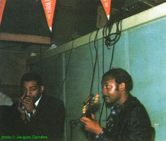 Little Walter & Pat Hare at Smitty's Corner, Chicago, 1959; source: ; photographer: Jacques Demêtre
