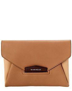 "Givenchy ""Antigona"" Medium BiColor Leather Envelope Clutch"