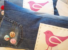 Handprinted pink bird decorative pillow case by poppyshome on Etsy, $45.00