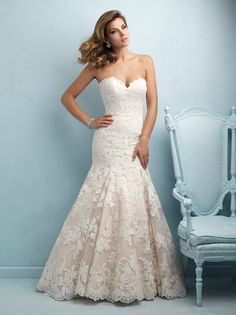 Allure 9215 Lace Strapless Sweetheart Bust Fit And Flare Chapel Train Mermaid Silhouette - Drop Waist, Strapless, Sweetheart