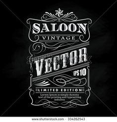 Western Hand Drawn Frame Label Blackboard Typography Border Vintage Vector Illustration - 334262543 : Shutterstock