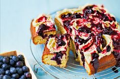 Poking holes in this cake allows it to soak up all of the delicious blueberry and lemon syrup. See more baking recipes & cake recipes at Tesco Real Food. Poke Cake Recipes, Poke Cakes, Best Cake Recipes, Dessert Recipes, Loaf Recipes, Desserts, Brownie Recipes, Cherry Muffins, Berry Compote