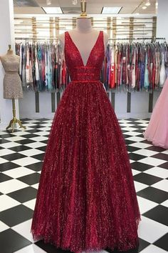 Stunning Red V Neck Sleeveless Prom Dresses Floor Length A Line Formal Party Dress Tulle V-Neck A-Line Long Prom Dress with Real Appliques, Party Dresses Sequin Prom Dresses, Unique Prom Dresses, A Line Prom Dresses, Prom Party Dresses, Trendy Dresses, Sexy Dresses, Evening Dresses, Red Prom Dress Sparkly, Elegant Dresses