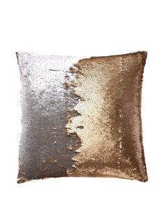 "Aviva Stanoff Design Sequined Mermaid Throw Pillow, Citrine/Silver at MYHABIT - 17""x17"" - $61"