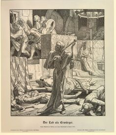 Alfred Rethel, Death the Strangler - The first outbreak of cholera at a masked ball in Paris 1831 (Der Tod als Erwürger - Erster Auftritt...).   In the centre, Death personified, holding two bones as if he was playing the violin; surrounding him, the bodies of three dead people lying on the floor; in the top left corner, a group of musicians leaving the room; in the background to right; Cholera personified, dressed in Egyptian fancy dress seated on stairs.
