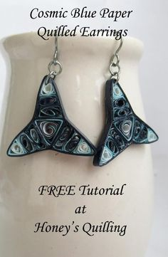 Dark Cosmic Outer Space Triangle Paper Quilled Earrings - Learn to make your own! - Honey's Quilling