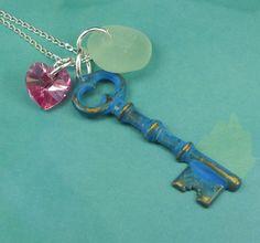 Sea Glass Jewelry Skeleton Key Necklace Aqua