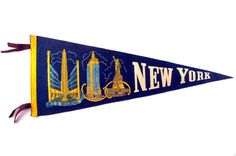 Vintage NY Pennant // New York Souvenir Felt by RankandFileVintage, $45.00