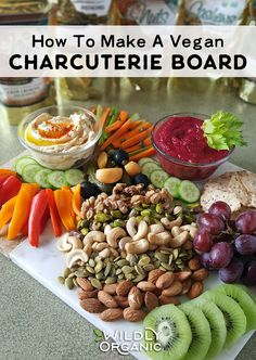 charcuterie board Charcuterie boards are fantastic for parties, movie night, and snacky weekend afternoons. They are also typically made with meats and cheeses. Why let the meat eate Raw Food Recipes, Vegetarian Recipes, Healthy Recipes, Vegetarian Sandwiches, Lamb Recipes, Organic Recipes, Drink Recipes, Clean Eating Snacks, Healthy Snacks