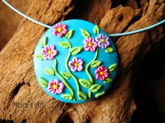 Pink Delicate Flowers on MagentaTurquoise  Polymer by MoirasArt, $21.00