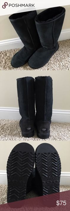 UGG Australia classic tall boots • black Ugg Australia classic tall black boots. One small imperfection in seam connecting sole (shown). Otherwise in like-new condition. Super comfy and warm and just in time for fall! UGG Shoes Winter & Rain Boots