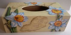 wooden tissue box daffodil by PtahArtGallery on Etsy, €23.00