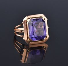 Retro 14K Rose Gold Color Change Sapphire Ring #Gold #14K #Ring #1940s #Rose #Sapphire #Deco #Art #intage #Puffy
