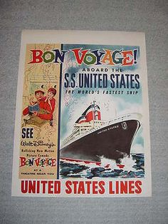 SS UNITED STATES LINES  1963 Bon Voyage Movie Poster