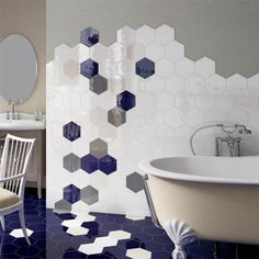 Hexagon Gloss White Wall Tile 175x200x8mm