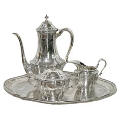 ♣~ Tiffany & Company ~♣~ Sterling Silver Tea Set on Tray ~♣~ | More here: http://mylusciouslife.com/period-dramas-and-historical-movies/ ~♣