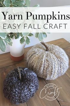 How to make cozy fall yarn pumpkins - follow this easy tutorial to make yarn-wrapped faux pumpkins with chunky yarn. DIY farmhouse pumpkins. Diy Pumpkin, Pumpkin Crafts, Pumpkin Decorating, Fall Decorating, Chunky Knit Yarn, Fake Pumpkins, Easy Fall Crafts, Types Of Craft, Dollar Store Crafts
