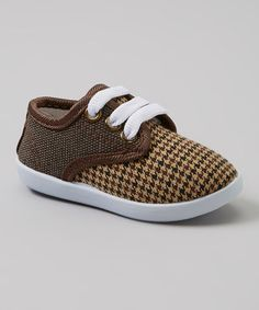 Take a look at this Brown & Black Houndstooth Sneakers by Milly & Max on #zulily today!