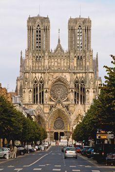 Facade de la Cathédrale de Reims: It's about the details but then it's about the whole thing, too. Romanesque Architecture, Cathedral Architecture, Ancient Greek Architecture, Sacred Architecture, Religious Architecture, Beautiful Architecture, Reims Cathedral, Cathedral Church, Monuments