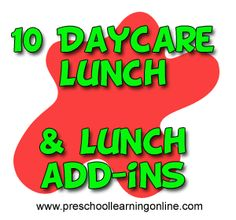 !0 Daycare lunch menus add ins for kids that are easy.