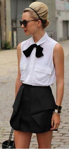 Look Clássico P&B com gravata em laço. Inovador, sem perder a feminilidade.